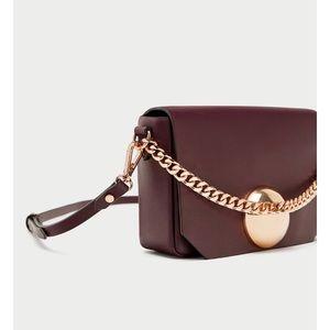 ZARA Burgundy and gold crossbody bag